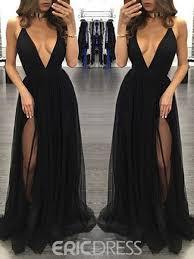Ericdress Sexy Deep V Neck Split Front Long Evening Dress 12723380