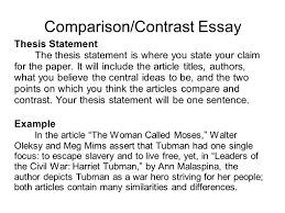Example Of Thesis Essays Compare And Contrast Sample Thesis Statements Language Lit