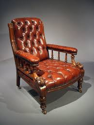 antique victorian leather oak chair