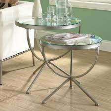 monarch round satin silver nesting tables with tempered glass 2 piece set hayneedle