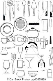 Set of kitchen utensils Large set of thirty items on vector
