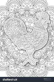 Small Picture Printable Coloring Book Page Adults Rooster Stock Vector 456546367