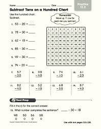 Subtract Tens On A Hundred Chart Worksheet For 2nd 3rd