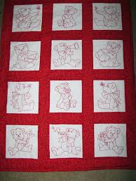 Free Machine Embroidery Designs For Baby Quilts Free Embroidered ... & Free Machine Embroidery Designs For Baby Quilts Free Embroidered Baby Quilt  Patterns Embroidered Bears In Red Adamdwight.com