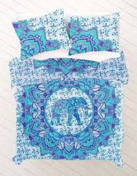 Elephant bedding, Bohemian lotus tattoo duvet cover set, Indie ... & Queen Size Turquoise Purple Round Elephant Mandala Bohemian Hippie Duvet  Quilt Cover With Pillowcovers Adamdwight.com