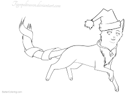 Christmas Cat Coloring Pages Cat In The Hat By Tigerpeltraven Free