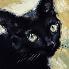 i have a box of black plein air frames that are 8 x 8 inches so i thought i would paint up some black cat paintings to fit them for the october art show