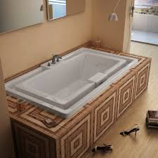 ... Wonderful Infinity Bathtub Creation : Inspiring Ethnic Pattern Ceramic  Luxurious Infinity Bathtub Wooden Floor ...