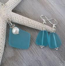 handmade in hawaii blue sea gl necklace earrings jewelry set fresh water pearl