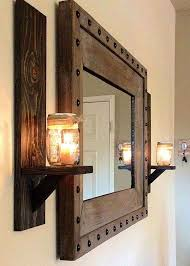 mirror wall decor elegant rustic wall sconces and rustic studded frame mirror