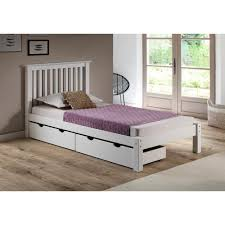 Barcelona White Twin Bed with Storage Drawers