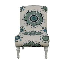 blue and white accent chair. Blue And Green Floral White Accent Chair Chairs