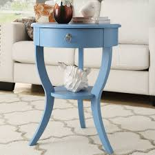 blue small round end table drawer with wood glides french dovetailed construction tripod legs solid material