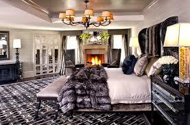 bedroom contemporary rug branch contemporary chandelier chocolate bench fur blanket contemporary headboard laminated nightstand room heater