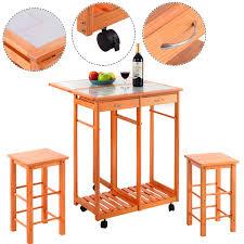 costway rolling kitchen island trolley cart drop leaf table w 2 stools home breakfast com