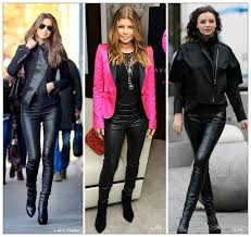 i would recommend to wear a simple top as the leather leggings are already a strong fashion statement on their own night out with leather leggings