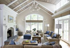 ... Brown Sofa And Brown Wood Coffee Table Near Drum Shaped White Standing  Lamp And White Fireplace Also Brown Valuted Ceiling Living Room Decors:  Vaulted ...