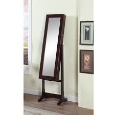 Home Decoration Furniture Brown Jewelry Armoire Mirror With Wooden Floor And Vase