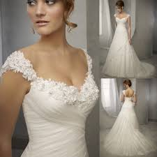 Designer Bridal Gowns With Sleeves Latest Design Vintage Wedding Dress 2016 Lace Cap Sleeve Beaded Wedding Dresses A Line Bridal Dresses Wedding Gowns