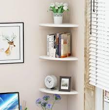 set of 3x white wooden floating corner