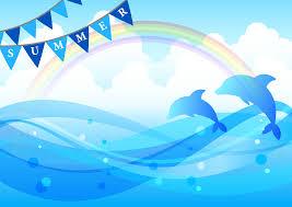 フリーイラスト 虹と海とイルカの夏の背景でアハ体験 Gahag 著作権
