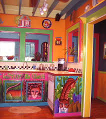 Kitchen: Colorful Mexican Kitchen Design Ideas With Orange Wall Paint And  Cute Tiger Mural Cabinet Featuring Black And White Backsplash Tile And  White ...