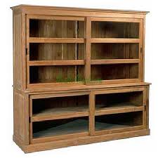 reclaimed teak bookcase 4 slide glass doors