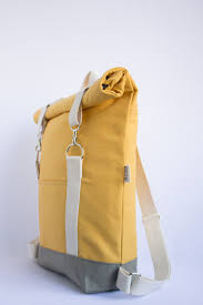 Yellow Designer Backpack Roll Top Backpack Mustard Yellow Lightweight Cotton Canvas