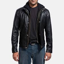 cool men s black leather blazer