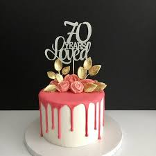70 Years Loved Cake Topper 70th Birthday Cake Topper Happy Etsy