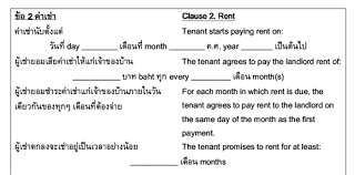 lease contract template rental contract slice of thai com