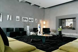 interesting living room interior decoration with black furry area rugs along with lime green sofa and