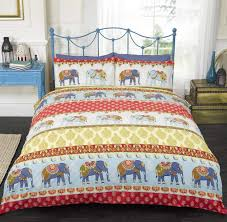 art indian style elephants king size quilt duvet cover and 2 pillowcase bedding set polycotton red maldives lwlmruewi