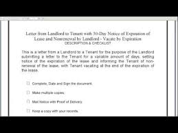 landlord to tenant 30 day notice of expiration of lease and nonrenewal youtube rental termination letter to tenant