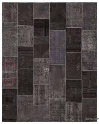 grey over dyed turkish patchwork rug 7 10 x 9