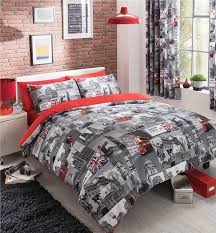 new red grey london city bedding double duvet set quilt cover bed set