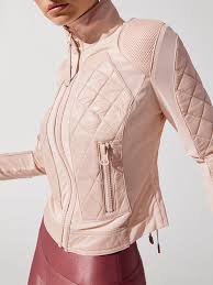Leather Mesh Moto Jacket In Pale Pink