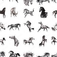 Naadloze Sumi E Paard Patroon Stockfoto Tabuday 114307356