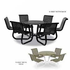 outdoor picnic table w attached chairs