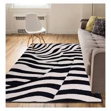 well woven miami zebra animal print stripe black 5 ft x 7 ft area