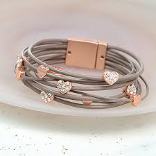 taupe leather bracelet with rose gold and crystal hearts image 1