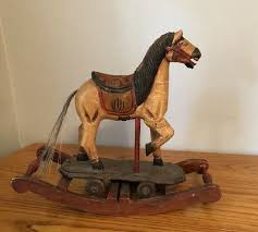 antique hand carved wooden rocking horse toy wheels painted vintage pony