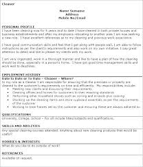 House Cleaning Job Resume Examples Table Residential Cleaner To Simple House Cleaning Resume