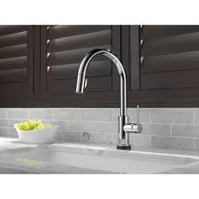 Touch Technology Kitchen Faucet Delta Faucet 9159t Dst Trinsic Polished Chrome Pullout Spray