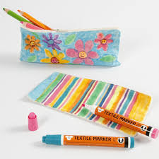 a cotton pencil case decorated with textile markers