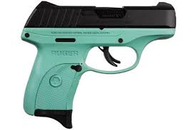 ruger ec9s 9mm striker fired pistol with turquoise grip frame