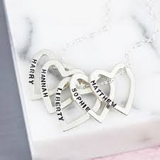 personalised sterling silver family names heart necklace