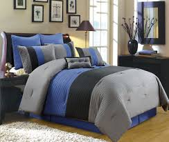 blue and grey bed sheets