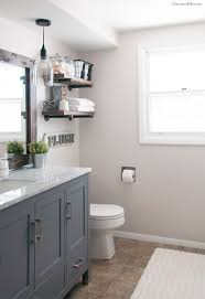 small bathroom makeovers. Industrial Farmhouse Style Bathroom: Paint Bathroom Cabinets A Deep Gray To Get This Look! Small Makeovers
