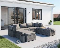 grey rattan garden day bed set monaco